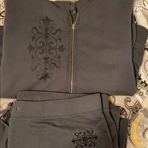 Gray sweats -zip top and bottoms